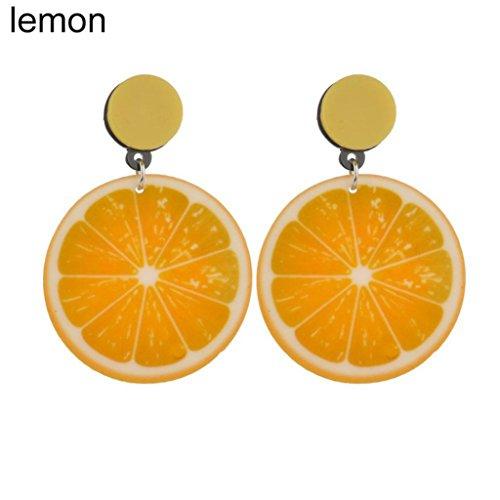 Yamalans Lovely Acrylic Fruit Shape Dangle Earrings Jewelry Gift for Girls (Lemon)