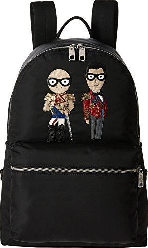 Dolce & Gabbana  Men's Family Nylon Patch Backpack Black Backpack by Dolce & Gabbana