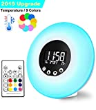 Wake Up Light Sunrise Alarm Clocks Upgrade Remote Control Thermometer FM Radio 9 Changing Colors 51 Alarm Sounds Wake-Up Lights Night Mood Light Sunset Simulation Beside Lamp USB Powered Kids Adul