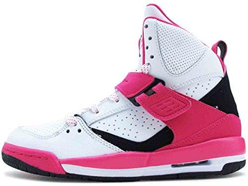 Jordan Flight 45 High GG White/Black-Vivid Pink (6y) (Air Jordan Flight Pink)