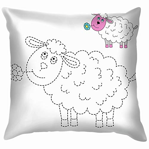 Drawing Worksheet Preschool Kids Easy Animals Wildlife Education Throw Pillow Case Cushion Cover Pillowcase Watercolor for Couch 26X26 Inch -
