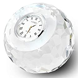 DONOUCLS Crystal Classic Lismore Diamond Table Clock 3.1 x 3.1 Christmas Decorations for Home
