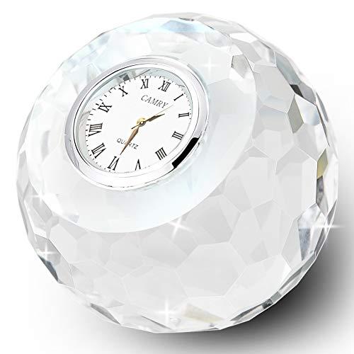 - DONOUCLS Crystal Classic Lismore Diamond Table Clock 3.1