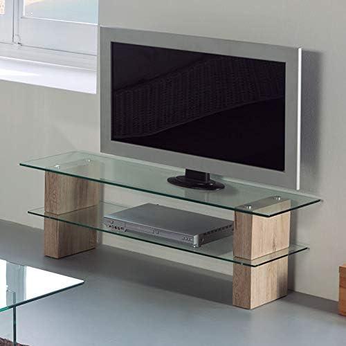 Mueble TV de Cristal y Madera Leslie: Amazon.es: Hogar