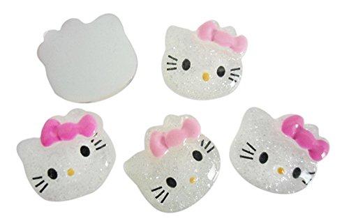 Resin Hello Kitty Cat Glitter Bow Flatback Scrapbooking Embellishments Flat Back Trim Cabochons