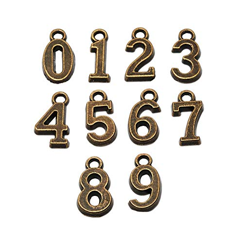 100pcs Antique Bronze Plated 0-9 Figures Numbers Charms Pendant for Necklace Bracelet DIY Jewelry Making Accessories 16x8mm (100pcs Figure)