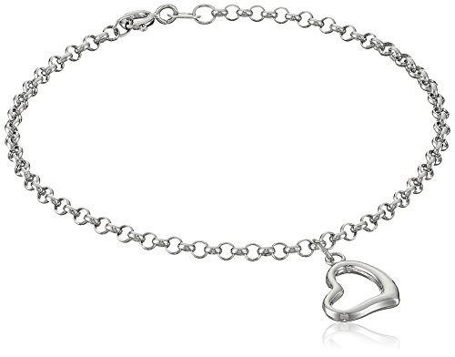 14k Gold Heart Dangle Charm Bracelet, 7""
