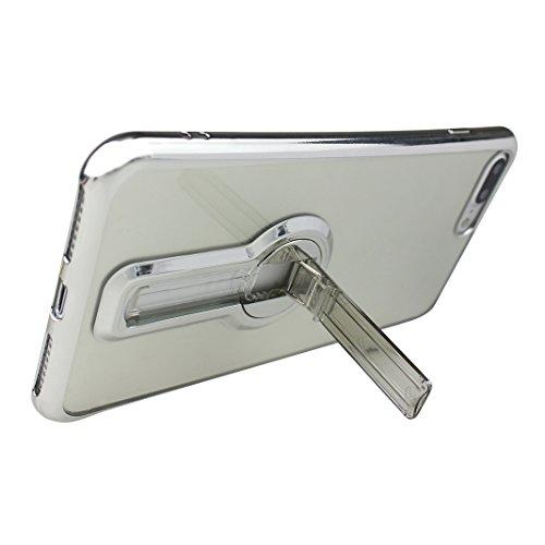 Funda iPhone 7 Silicona, Rosa Schleife Ultra delgado Cubierta de la caja del silicón de TPU Caso Carcasa cubrir con diseño de chapado de la contraportada Función de Soporte Funda de Móvil para el iPho Edge Plating - Plata