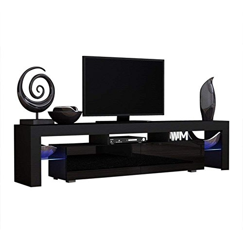 Concept Muebles TV Stand Milano 200 Black Body/Modern LED TV Cabinet/Living Room Furniture/Tv Cabinet fit for up to 90-inch TV Screens/High Capacity Tv Console for Modern Living Room (Black & - Furniture Contemporary Tv