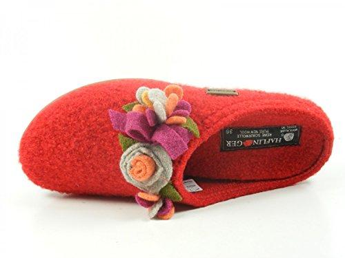 483033 Haflinger Rot Damen Pantoffeln Floriane Schuhe Hausschuhe Wolle Everest qFxprFdwHO
