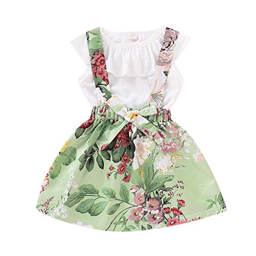 c3fdb8e795 Clothful 💓 Toddler Baby Girls Sleeveless Solid Ruffles Tops Floral Overall  Skirt Outfits