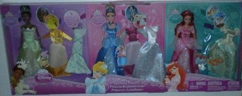Disney Sparkling Princess 3 Dolls & Outfits Tiana Cinderella Ariel Little Mermaid New ()