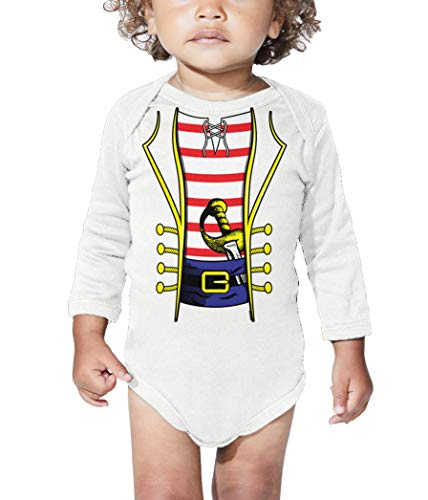 HAASE UNLIMITED Pirate Costume - Swashbuckler Buccaneer Long Sleeve Bodysuit (White, 12 Months) -