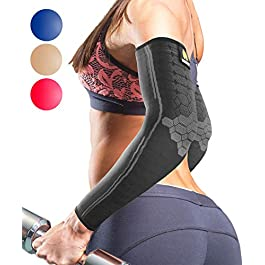 Sparthos Arm Compression Sleeves – Aid in Recovery and Support Active Lifestyle – Innovative Breathable Elastic Blend