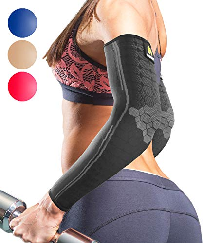 Sparthos Arm Compression Sleeve - Elbow Braces for Recovery, Support for Athletic Sports Running Tennis Baseball Lifting Volleyball Shooting Weightlifting Golf - Mens and Womens (Black-S)
