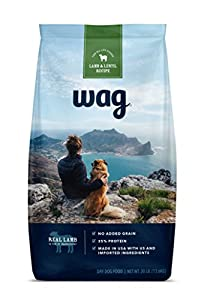 WAG Amazon Brand Dry Dog Food, No Added Grain, Lamb & Lentil Recipe, 30 lb. Bag