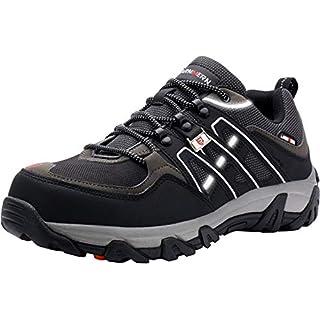 LARNMERN Steel Toe Shoes Men, Safety Work Reflective Strip Puncture Proof Footwear Industrial & Construction Shoe (8.5, Black Grey)