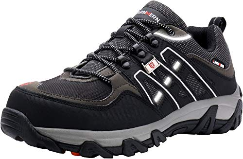 LARNMERN Steel Toe Shoes Men, Safety Work Reflective Strip Puncture Proof Footwear Industrial & Construction Shoe (13, Black Grey)