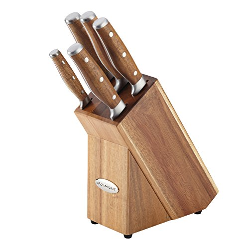 Rachael Ray Cucina 6-Piece Japanese Stainless Steel Knife Block Set with Acacia Handles by Rachael Ray