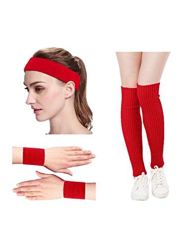 KIMBERLY S KNIT Women 80s Neon Pink Running Headband Wristbands Leg Warmers Set (Free, Red) ()