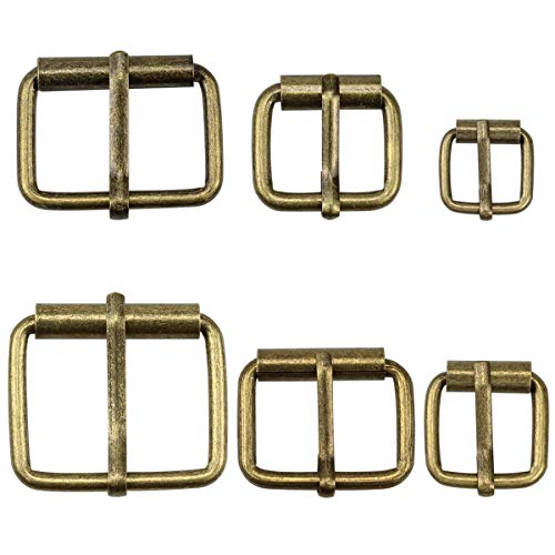 Hysagtek 60 Pcs Bronze Metal Roller Buckles Belts Hardware Pin Buckle for Bags Leather Belt Strap Hand DIY Accessories, 6 Size - 1.3'', 1.18