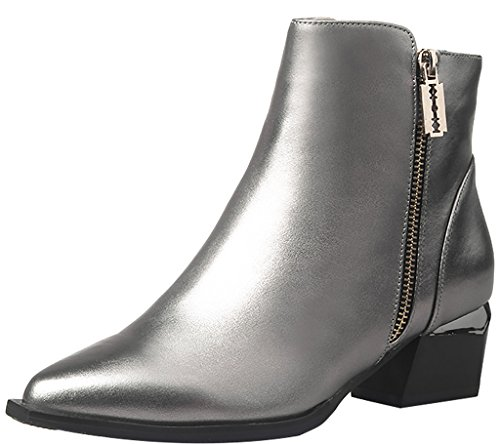 ELEHOT Womens Elejudg 4.5CM low-heel Boots, silver, 10.5