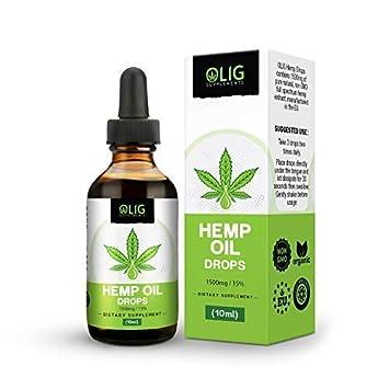 OLIG Hemp Oil Drops Supplement - 1500mg (15%) | High Strength Full-Spectrum  Hemp Extract Drops | 1 Month Supply