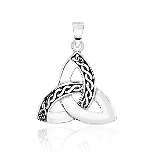 WithLoveSilver Solid 925 Sterling Silver Charm Celtic Trinity Knot Triquetra Pendant
