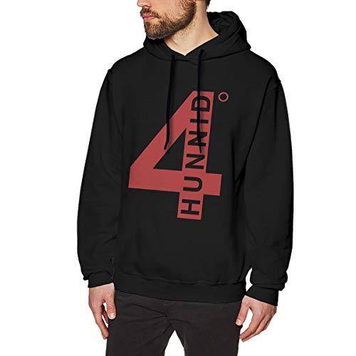 Pekivide Men's 4hunnid Logo Pure Cotton Black Hoodie Sweatshirt Jacket Pullover Tops