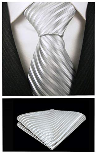 Striped Ties for Men - Woven Necktie with Pocket Square - Silver w/Silver