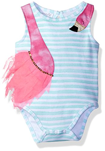Mud Pie Baby Girls' One Piece Bodysuit Crawler, Flamingo, 0-3 Months