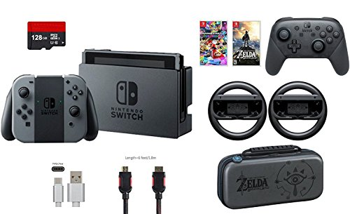 Nintendo Switch 32GB Console Gray Joy-con 9 items Bundle:Mario Kart 8 Deluxe and Deluxe Travel Case,The Legend of Zelda:Breath of the Wild,Pro Controller,Joy-Con Wheel (Set of 2),128GB MicroSDXC
