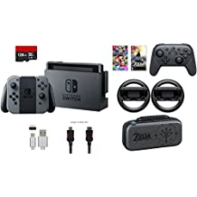 Nintendo Switch 32GB Console Gray Joy-con 9 items Bundle:Mario Kart 8 Deluxe and Deluxe Travel Case,The Legend of Zelda:Breath of the Wild,Pro Controller,Joy-Con Wheel (Set of 2),128GB MicroSDXC