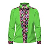 Doufine Mens African Print Tops Slim Fitting Oversized Splice Batik Shirt One 2XL