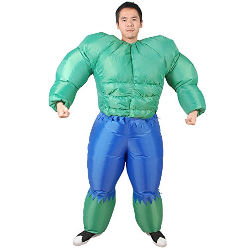 [Inflatable Muscle Bodysuit Inflatable Green Giant Dolls Funny Show Props Costume] (Kids Costumes Inflatable Hulk)