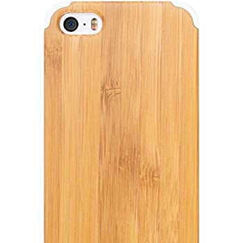 Bamboo iPhone SE Wood Case - iCASEIT Handmade Premium Quality Genuinely Natural & Unique Wooden Cover for SE / 5s / 5 - Bamboo / White