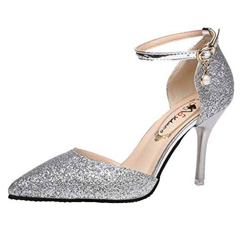 Cenglings Women's Sexy Pointed Toe Sequins Stiletto Heel Pumps Wild Belt Buckle Single Shoes Ankle Strap Sandals