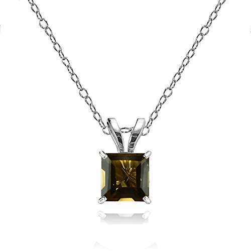 Bria Lou 14k White Gold Smoky Quartz Gemstone 6mm Square-Cut Solitaire Pendant Necklace, ()