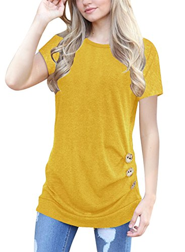 Chicgal Women Short Sleeve Shirts O-Neck Casual Loose Button Trim Blouse Tunic Tops (S - Blouse Yellow Sleeve Short