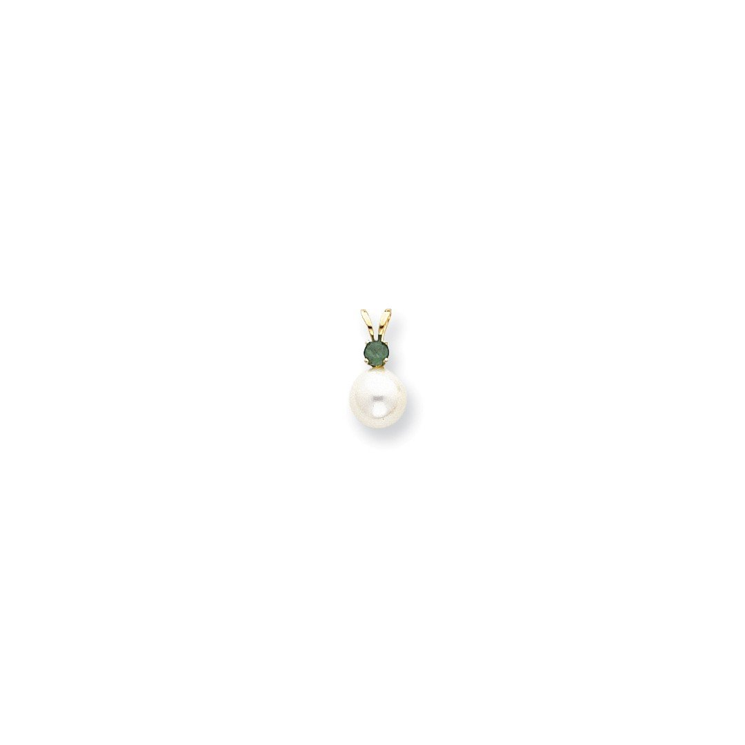 14kt Yellow Gold 7mm White Freshwater Cultured Pearl .11ct. Green Emerald Pendant Charm Necklace Fine Jewelry For Women Gift Set ICE CARATS IceCarats 5328609699292636309