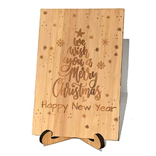 Zuaart Christmas Tree Greeting Card Handmade With Real Bamboo Wood and Stand - We wish you a merry Christmas & happy new year - Perfect for family, love, friends and boss (Best Wishes For Merry Christmas And New Year)