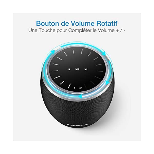 POWERADD Enceinte Bluetooth Portable, 36W Basse Performant avec 4 Pilotes Intégrés, 4000mAh Grande Capacité, Volume Rotatif, Musique de 12H pour Intérieur/Extérieur 5