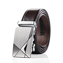 Teemzone Mens Business Casual Style Leather Rachet Belt Slidebelt for Waist