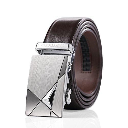 Teemzone Men's Business Casual Style Leather Ratchet Belt Slide Belt for Waist (Brown01, 45inch(waist 26''-38''))