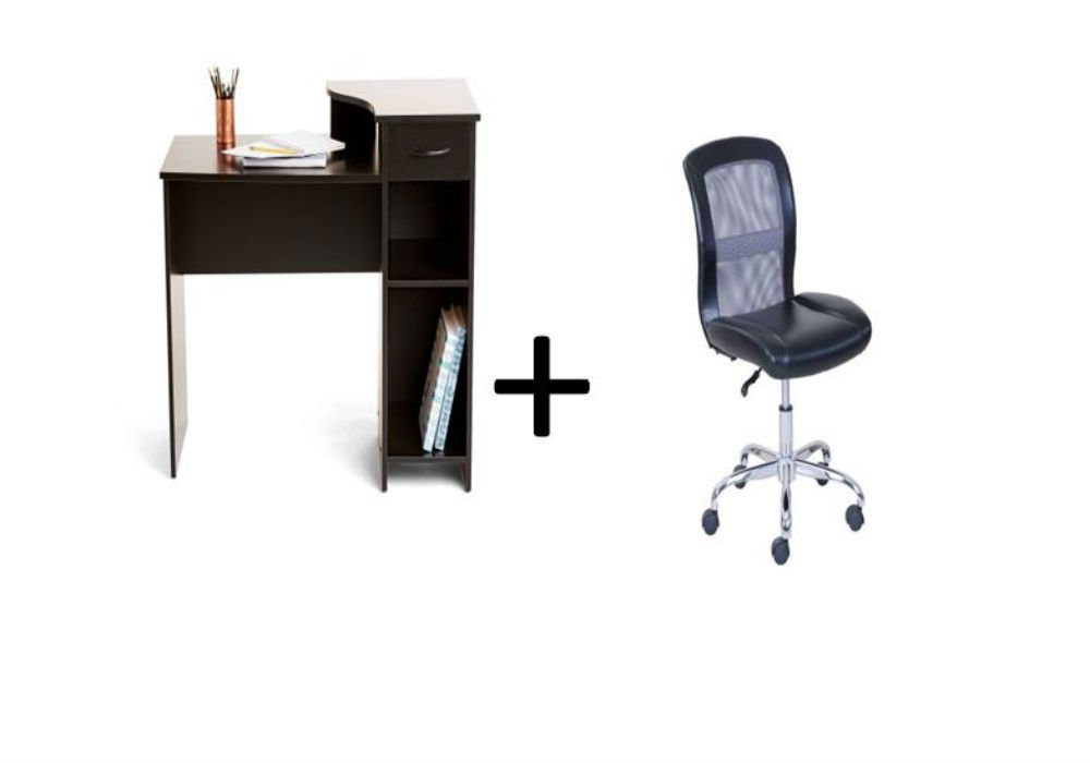 Mainstays Student Desk with Task Chair, Bundle Set (Black Student Desk + Black/Gray Task Chair)
