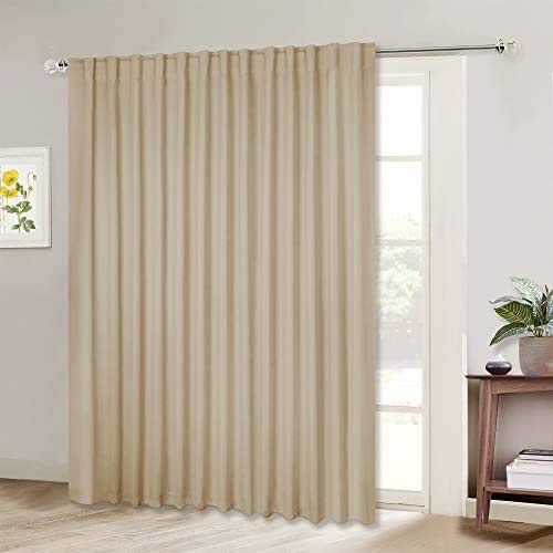 NICETOWN Glass Door Curtains for Window, Wide Thermal Curtain Panels, Sliding Door Drapes, Extra Wide Curtains (Biscotti Beige, 100 inches Wide x 95 inches Long, 1 Piece)