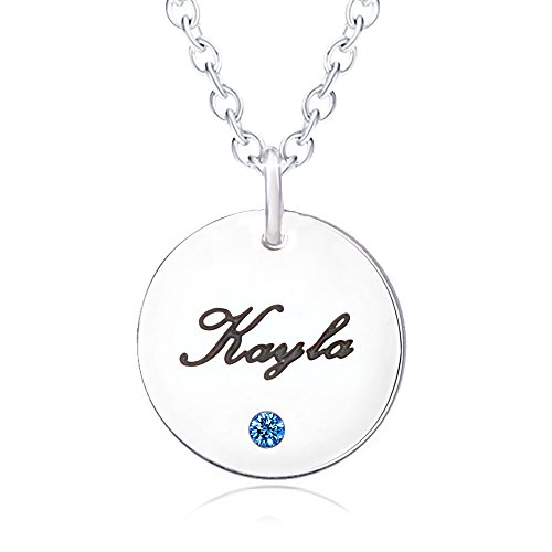Bala Kayla Name Necklace Personalized with Birthstone Silver Disc Round Pendant Carved Circle Disk