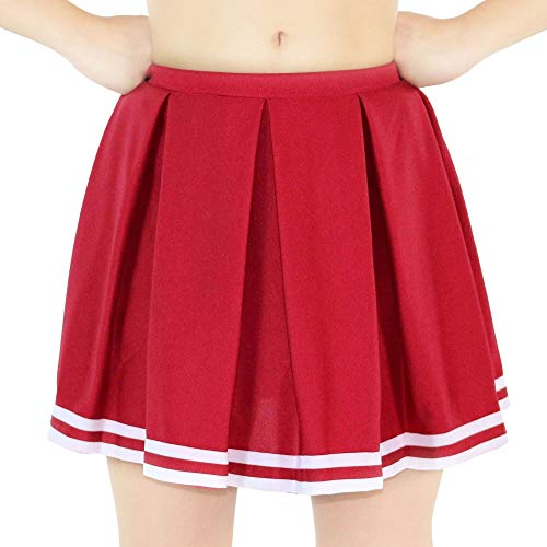 fe5abd6369 Danzcue Child Knit Pleat Cheerlearding Uniform Skirt, Scarlet-White, X-Small