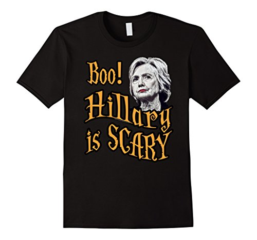 Hillary Clinton Costume Amazon (Mens Boo Hillary Clinton is Scary Funny Halloween Costume T-Shirt XL Black)