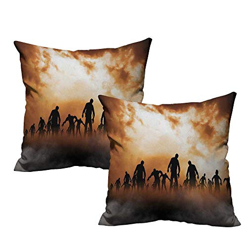 (warmfamily Halloween Couple Pillowcase Zombies Dead Men Walking Body in The Doom Mist at Night Sky Haunted Theme Print Cushion W15 x L15 Orange)